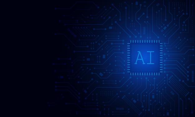 Sztuczna inteligencja, chipset ai na płytce drukowanej, futurystyczna koncepcja technologiczna
