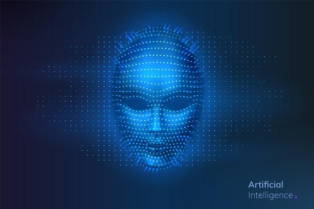Sztuczna inteligencja lub cyfrowa twarz robota