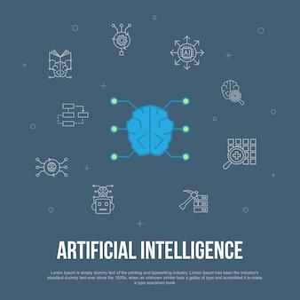 Sztuczna inteligencja modna koncepcja płaskiego interfejsu użytkownika z prostymi ikonami linii. zawiera takie elementy jak uczenie maszynowe, algorytm, głębokie uczenie, sieć neuronowa i inne