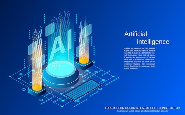 Sztuczna inteligencja płaska ilustracja koncepcja izometryczny wektor 3d