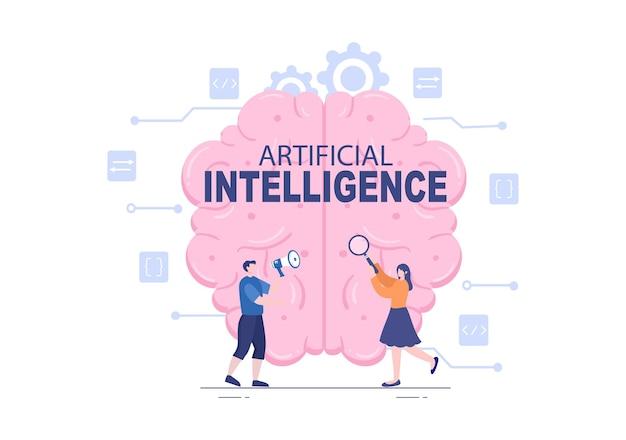 Sztuczna inteligencja technologia cyfrowego mózgu i koncepcja inżynierii z danymi programisty lub systemami, które można skonfigurować w kontekście naukowym. ilustracja wektorowa
