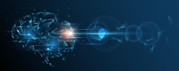 Sztuczna inteligencja technologia tło mózg ludzki graficzny drut cyfrowy kropka i linia ilustracji wektorowych innowacje hi-tech abstrakcyjne tło