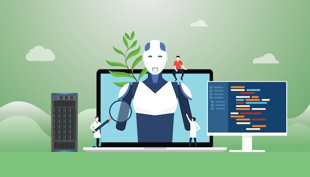 Sztuczna inteligencja z konstrukcją robota i rozwoju technologii z językiem programowania w nowoczesnym stylu mieszkania.