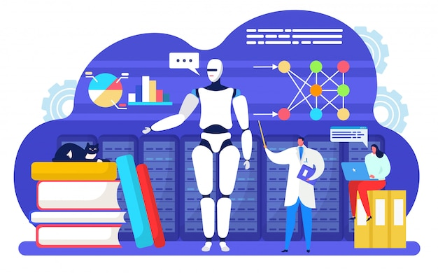 Sztuczne inteligentne uczenie maszynowe, postać z kreskówki małego naukowca ucząca inteligencję mózgu robota cyfrowego