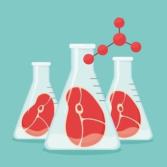Sztuczne mięso syntetyczne wyhodowane w szklanych naczyniach w laboratorium chemicznym