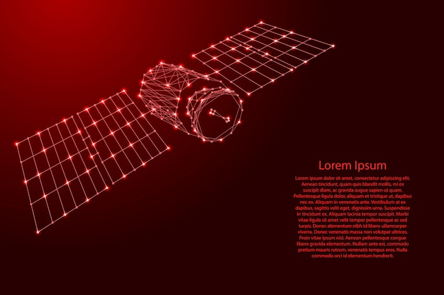 Sztuczny satelita ziemi z panelami słonecznymi z futurystycznych wielokątnych czerwonych linii i świecących gwiazd na baner, plakat, kartkę z życzeniami.