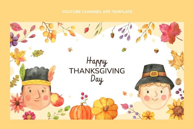 Sztuka akwareli dziękczynienia na kanale youtube
