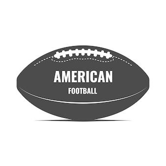 Sztuka amerykańskiego futbolu. monochromatyczne logo z piłką do rugby. nadruk z koszulki