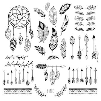 Sztuka boho. plemienne pióro ze strzałką, czeska kwiecista ramka i elementy ramy mody hippie zestaw