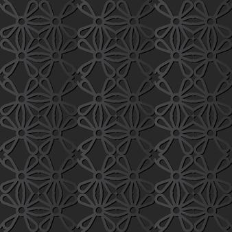 Sztuka ciemnego papieru krzywa okrągły krzyż kwiat, wektor stylowe tło wzór dekoracji