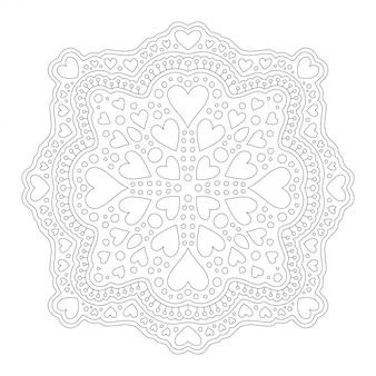 Sztuka do kolorowania strony książki z liniowym wzorem mandali