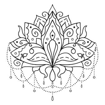 Sztuka etniczna, ozdobny kwiat lotosu.