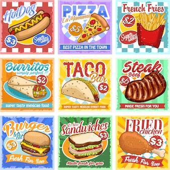 Sztuka fast food plakat ilustracja wektor zestaw