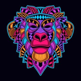 Sztuka głowy małpy w neonowym kolorze świeci w ciemności