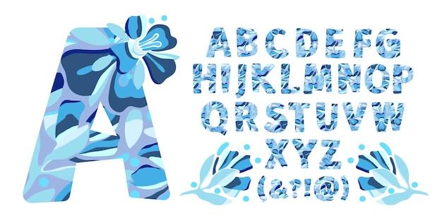Sztuka kwiat wektor litery alfabetu wzór wakacje w kształcie pogrubionych liter