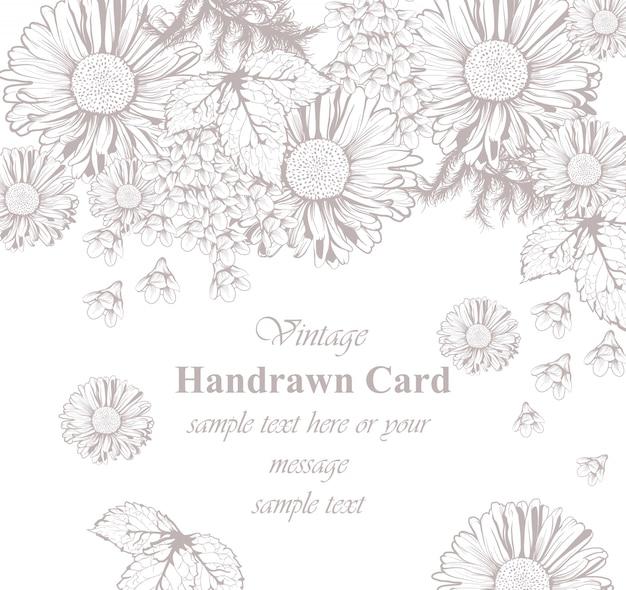 Sztuka kwiatowy karty grafiki. piękne tło. ręczne rysowanie stylów graficznych