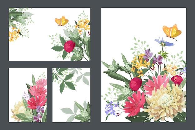Sztuka kwiatowy pozdrowienia i wizytówki. karty z czerwonymi, żółtymi, niebieskimi kwiatami i pąkami, żółtymi motylami, zielonymi łodygami i liśćmi. kwiaty na białym tle na białym tle.