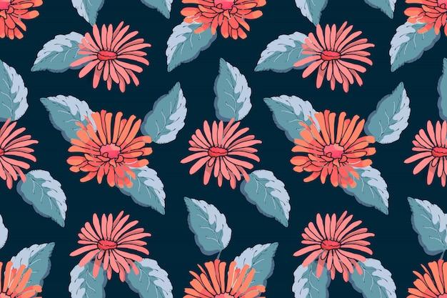 Sztuka kwiatowy wektor wzór. czerwone astry z niebieskimi liśćmi na ciemnoniebieskim
