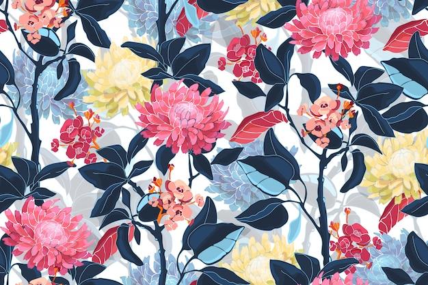 Sztuka kwiatowy wektor wzór. różowe, żółte, niebieskie kwiaty. ciemnoniebieskie liście, jasnoniebieskie przezroczyste nakładki na liście.
