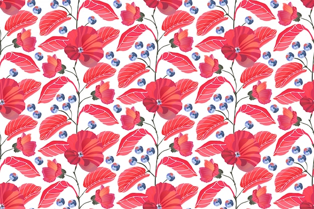 Sztuka kwiatowy wzór. czerwoni ślazy, gałąź, liście, błękitne jagody odizolowywać na białym tle.