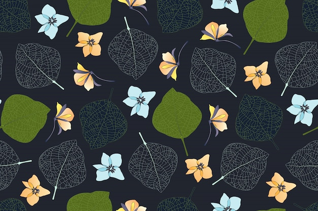 Sztuka kwiatowy wzór. zielone, ciemne liście, białe żyły liści, jasnoniebieskie i jasnożółte kwiaty na białym tle na ciemnym tle. niekończący się wzór