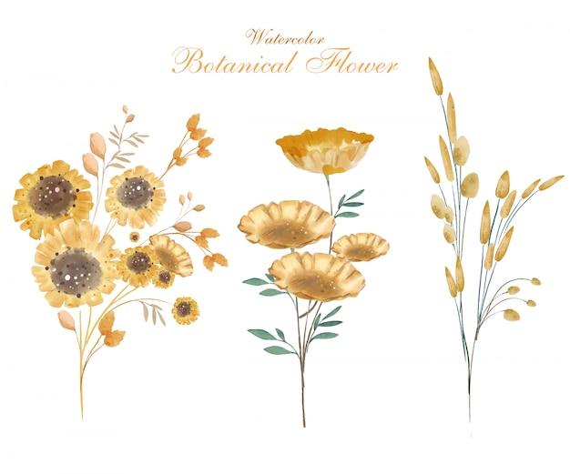 Sztuka Kwiatu W Stylu Przypominającym Akwarele W Kwiatach Botanicznych Premium Wektorów
