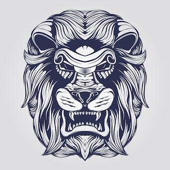 Sztuka linii głowy lwa