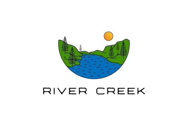 Sztuka liniowa z wiecznie zielonych sosen jodła iglasta cykuta las i potok dla camp adventure logo design vector