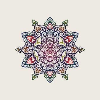 Sztuka mandali hamsa ręka fatimy