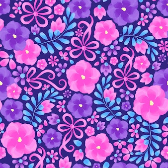 Sztuka. modny wzór akwarela kwiat. kwiatowy wzór z fiołkami na ciemnym tle