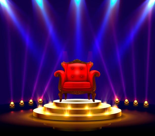 Sztuka na podium zwycięzcy, czerwone krzesło na scenie