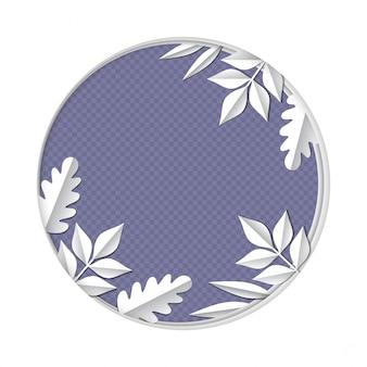 Sztuka papieru rzeźbić do ramki różnych liści i roślin gałęzie w lesie na białym tle