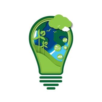 Sztuka papieru zielonej ekologii technologii i koncepcji natury. oszczędzać energię koncepcja kreatywny pomysł. żarówka z ochroną przyrody i środowiska. projekt wektor.