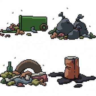 Sztuka pikseli na białym tle śmieci śmieci