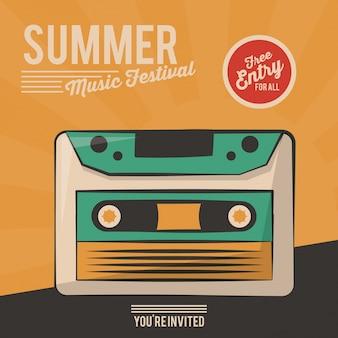 Sztuka plakat lato muzyka festiwal kaseta