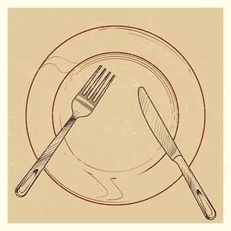 Sztuka plakatu z nożem, widelcem, talerzem