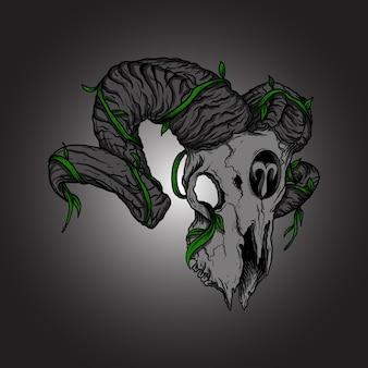 Sztuka praca ilustracja projekt baran czaszka zodiaku