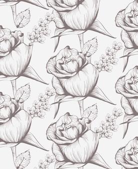 Sztuka róż kwiatowy karta grafik