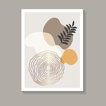 Sztuka ścienna z botanicznym tropikalnym klimatem. abstrakcyjne swobodne kształty obrazu w ciepłych i złotych kolorach i ciemnym liściu. najlepsze do wydruków, okładek i modnych wzorów. ilustracja wektorowa.