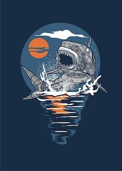 Sztuka steampunkowa z rekinami