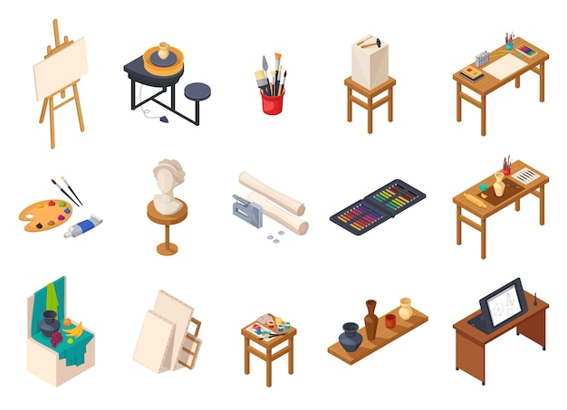 Sztuka studio izometryczne elementy wnętrz kolekcja z izolowanych urządzeń malarskich biurka stoły półki z próbek treningowych ilustracji wektorowych