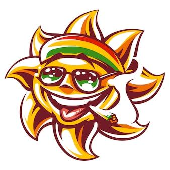 Sztuka szczęśliwego słońca w czapce w kolorze rastamanów, okularach przeciwsłonecznych i skoku w ustach. ganja pali zabawną postać słońca.