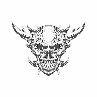 Sztuka w stylu grunge ludzkiej czaszki z wieloma rogami. projekt nadruku. głowa demona. demon, nadprzyrodzony, zły. czary, czarna magia, okultyzm, ilustracja.