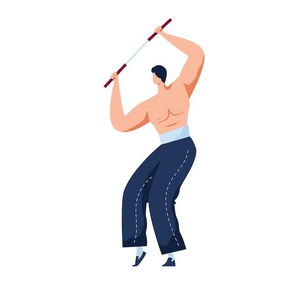 Sztuka walki, silny zawodowy wojownik, walka nunchak, ćwiczenie pojedynczej walki, ilustracja kreskówka, na białym tle. orientalne sporty agresywne, aktywny tryb życia mężczyzny, mieszane sztuki walki.