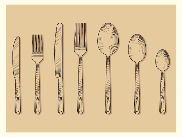 Sztuka wektor zestaw sztućców. ręcznie rysowane nóż, widelec, łyżka w stylu grawerowania szkicu na białym tle