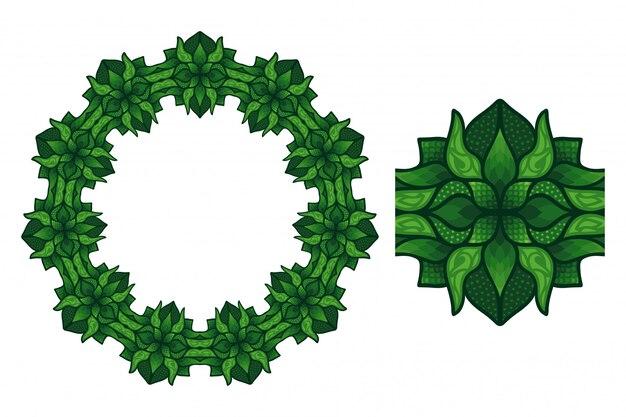 Sztuka z okrągłym wzorem kwiatowym i pędzlem