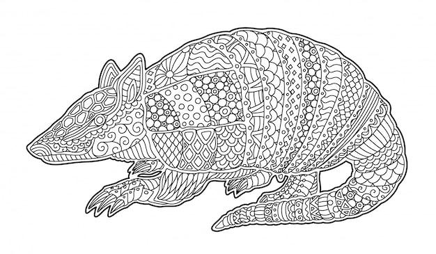 Sztuka zen z sylwetką armadillo szczegółowe kreskówki