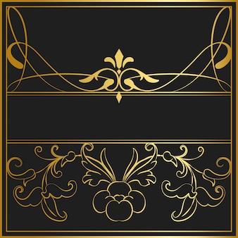 Sztuka złoty wektor nouveau znaczek wektor