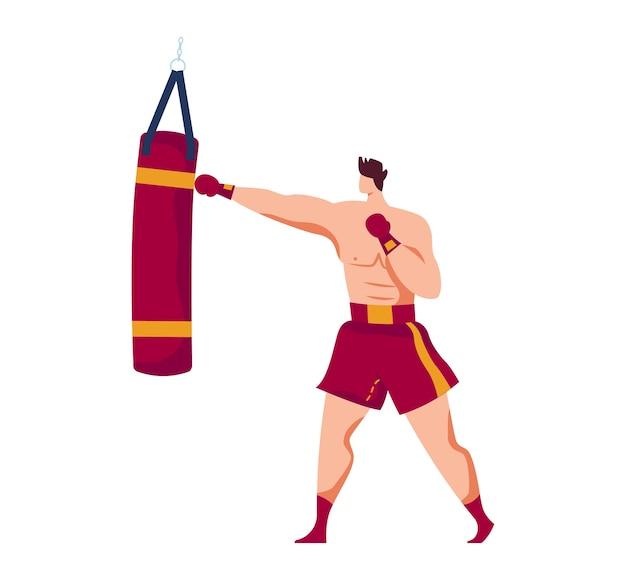 Sztuki walki, doświadczony bokser, męski sport, dorosły wojownik, muskularny sportowiec, ilustracja kreskówka projekt, na białym tle. mężczyzna w rękawicach bokserskich przeszkolony do boksowania worek treningowy, agresywna walka.