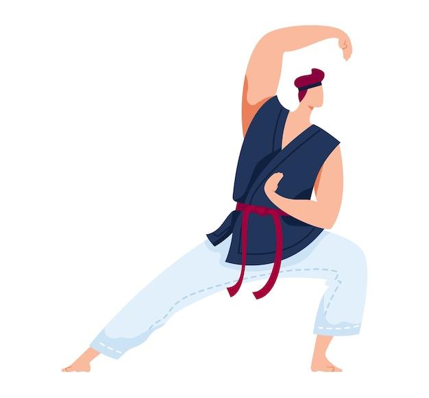 Sztuki walki, sport japoński, agresywne zapasy, ćwiczenia treningowe, ilustracja projekt kreskówki stylu, na białym tle. mężczyzna ostry miecz, trening z mieczem, mieszane sztuki walki, aktywny tryb życia